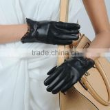 2015 nappa leather gloves lady women gloves silk liniing Women's genuine lambskin leather fashion gloves