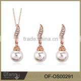 simple gold jewelry set pearl and crystal necklace earring set                                                                                                         Supplier's Choice