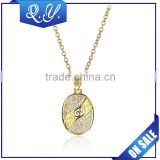 Custom name design long chain necklace jewelry gold plated zircon pendant necklace for man