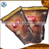 brown kraft ecological paper with aluminium foil lamination stand up pouch bag with degassing valve