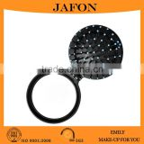 Black mini round folding pocket hair brush with mirror                                                                         Quality Choice