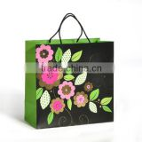 2015 new flowers print factory direct sale promotional advertising craft paper cloth carry bag