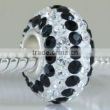 European style 925 sterling silver black crystal beads