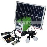 price portable home use 10W poly panel 7ah 12V solar led kit mini solar system with mobile charger