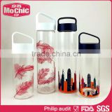 Mochic 500ML wholesale OEM decorative printing borosilicate glass drinking water bottle portable PP lid bottle