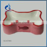 bone shape pink ceramic dog bowl pet water food bowl                                                                         Quality Choice