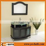 36 inch Solid wood bathroom vanity cabinet with glass basin