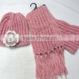 Beautiful women's winter knit pink flower hat and scarf sets