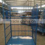 Heavy duty folding wire mesh roll container trolley cart