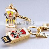 Fashion usb jewelry findings, gold elegance jewelry usb design with push button switch