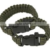 Fashion Self Resue Survival wholesale paracord wristband with fire starter buckle compass