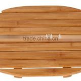 popular oval anti slip bamboo shower bath mat for home or hotel