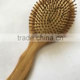 Bamboo handle bamboo pins paddle cushion hair brush