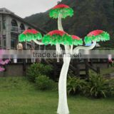 Home garden decorative 250cm Height outdoor artificial green flashing LED solar lighted up mashroom trees EDS06 1428