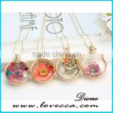 60cm Alloy chain dry flower inside glass terrarium jewelry necklace