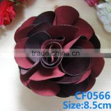 CF0566 New fashoin burgundy fabric big flower clip with backing clip