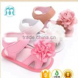 2017 New arrival Outdoor summer Pink infant foot wear breathable baby girls shoes sandals white kid flower shoes