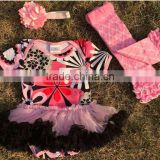 2015 new pink flower baby romper tutu romper dress with matching headband and leg warmer