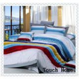 Jacquard and printed bedding set, sheet set,embroidery Fabric material: 100%cotton reactive printed,40sx40s/173x85. Our usual size for 4pcs set is:   1PC QUIL