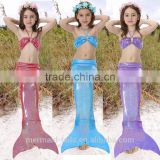 3pcs Girl Kids Mermaid Tail Swimmable Mermaid Swimsuit Girls Bikini Set Bathing Suit Swimwear 3-12 Years Old
