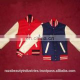 Red & Blue Kids Varsity Jackets, Custom Embroidery Children Baseball Jackets, Wool Leather Bomber Jackets