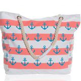 Extra large waterproof canvas striped beach bag tote for women
