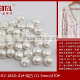 white pearl button with tunnel shank for women's wedding dress
