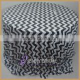 SQN#43 latest black and white chevron designs sequin linen banquet table cloth 84x84