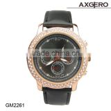 Bling bling crystal watch stainless steel back quartz quality watches with chronograph watch