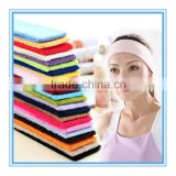 Factory wholesale cheap plain cotton terry cloth fabric unisex sport headband spa headband