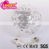Best China quality EN71 approved congratulations printed transparent latex balloons