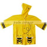 Custom Printed Bee Waterproof Yellow Toddler Raincoat