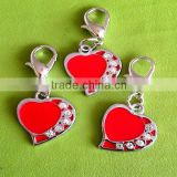 Metal Jewelry Zinc Alloy Pendant heart shape with stone