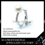 Latest jewelry silver stering fresh water pearls with a chain finger ring for ladies