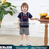 Brand Summer Boys 2pcs Suit Children Printed bow Short Sleeves Black and white Grid Shorts Sets
