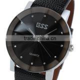WM020 New Mens Unisex Black Dial Classic Value Leather Band Fashion Quartz Wrist Watch