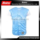 Custom logo button up baseball shirt&short sleeve sublimation baseball shirt