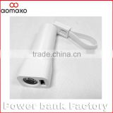 christmas gifts power bank, keychain micro cable led light power bank ,2600mah battery charger