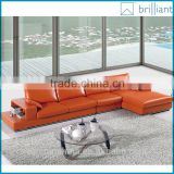 SS-1180 Modern L shape orange leather sofa designs set