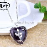 Wholesale Amethyst Heart Crystal Pendant Fashion Heart Necklace Charm for Gift