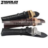 Cheap genuine leather Watch Band with double click stainless steel buckle 18|19|20|21|22mm