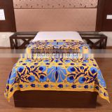 Embroidered Bed Cover Twin Indian Tapestry Bohemian Hippie Wall Hanging Cotton Suzani Bedspread