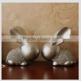 2016 Polyresin craft home decoration pieces rabbit figurine with diamond