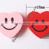 Mixed Colors Mixed Printing love heart shape smile face heart Wood Beads