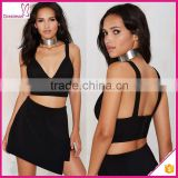 Back zip closure black color classic sexy fancy bra top