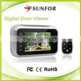 AA battery or DC adapter powered 3.5inch peephole door viewer