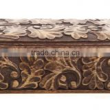 Store Indya Homey Keepsake Storage Box/Jewelry Trinket/Holder Organizer Strong Wood with Hand Carved Floral Patterns