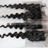 Cheap human hair free parting lace front closure 4*4 size stock lace closure overnight shipment