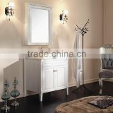 Modern free standing solid wood bathroom vanity with ceramic wash basin