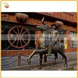 Life Size Riding Cowboy Sculpture Bronze Man Sculpture For Decoration